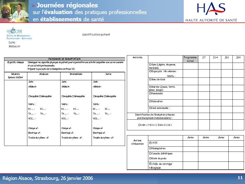 > Journées régionales sur lévaluation des pratiques professionnelles en établissements de santé Région Alsace, Strasbourg, 26 janvier 2006 11 identifi