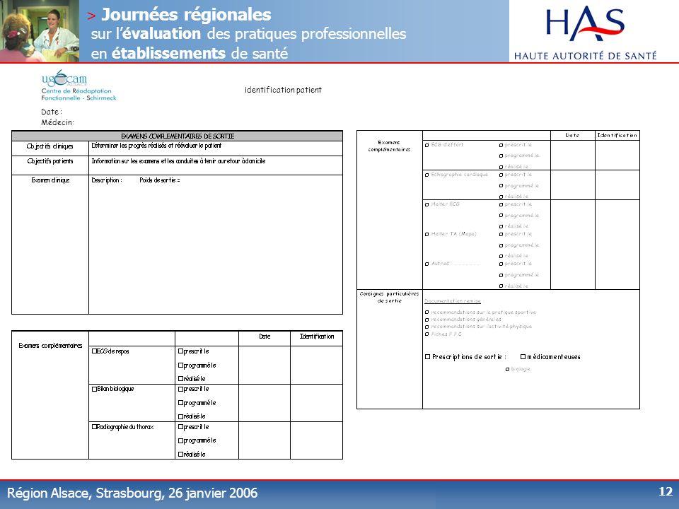 > Journées régionales sur lévaluation des pratiques professionnelles en établissements de santé Région Alsace, Strasbourg, 26 janvier 2006 12 identifi