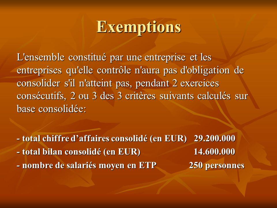 Exemptions Sous-groupes Sous-groupes Attention : sauf … Attention : sauf …