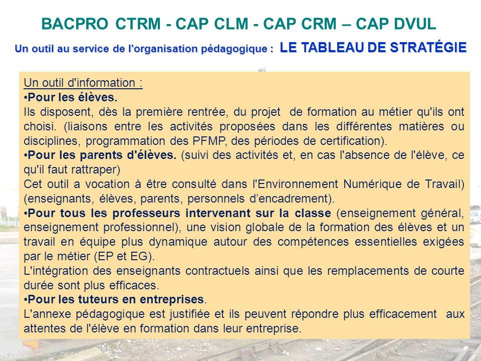 BACPRO CTRM - CAP CLM - CAP CRM – CAP DVUL Un outil au service de l'organisation pédagogique : LE TABLEAU DE STRATÉGIE Un outil d'information : Pour l