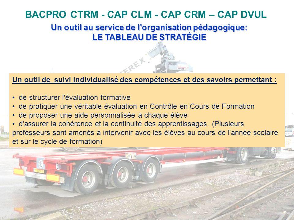 BACPRO CTRM - CAP CLM - CAP CRM – CAP DVUL Un outil au service de l'organisation pédagogique: LE TABLEAU DE STRATÉGIE Un outil de suivi individualisé
