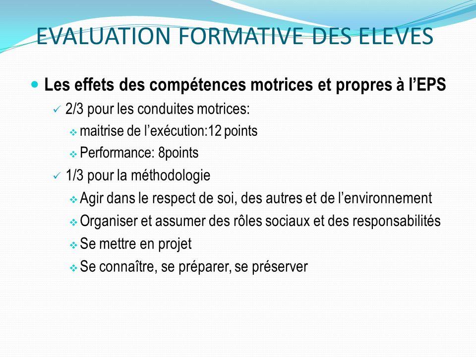 EVALUATION FORMATIVE DES ELEVES Les effets des compétences motrices et propres à lEPS 2/3 pour les conduites motrices: maitrise de lexécution:12 point