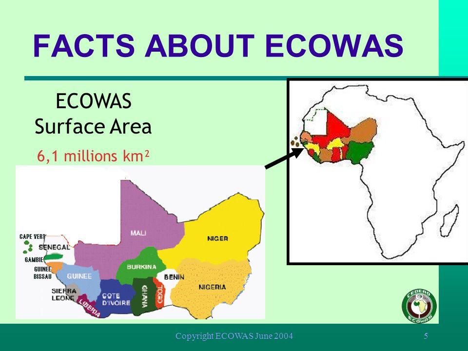 Copyright ECOWAS June 200455 Regional Peace and Security Adoption of the protocol on non agression in 1978 Adoption of the protocol on mutual assistance in defence matters in 1981 International judicial cooperation