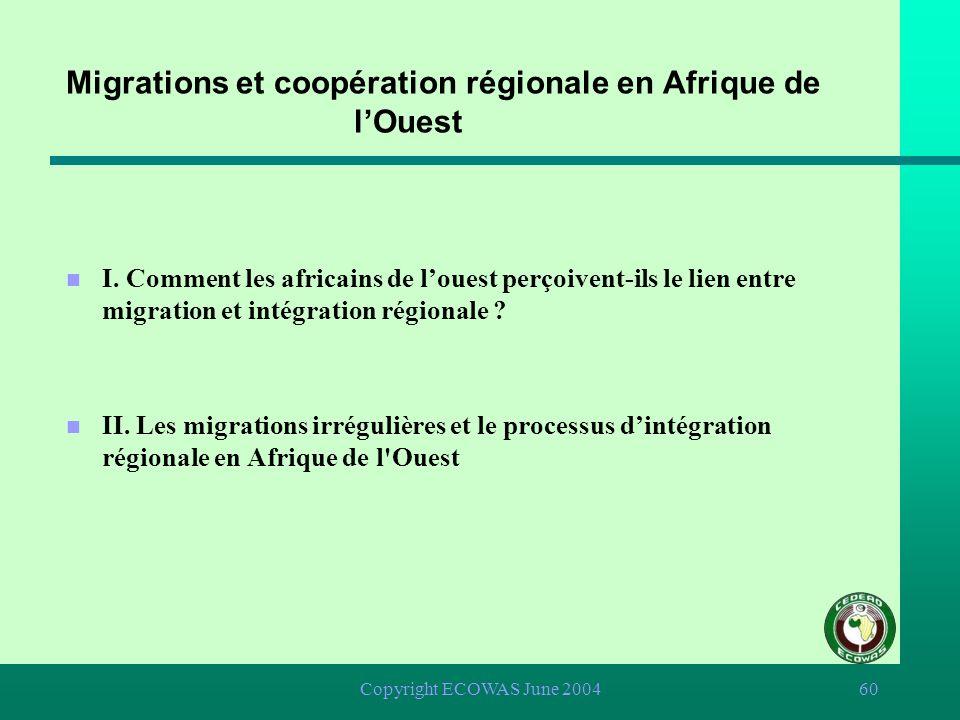 Copyright ECOWAS June 200459 Migrations et coopération régionale en Afrique de lOuest