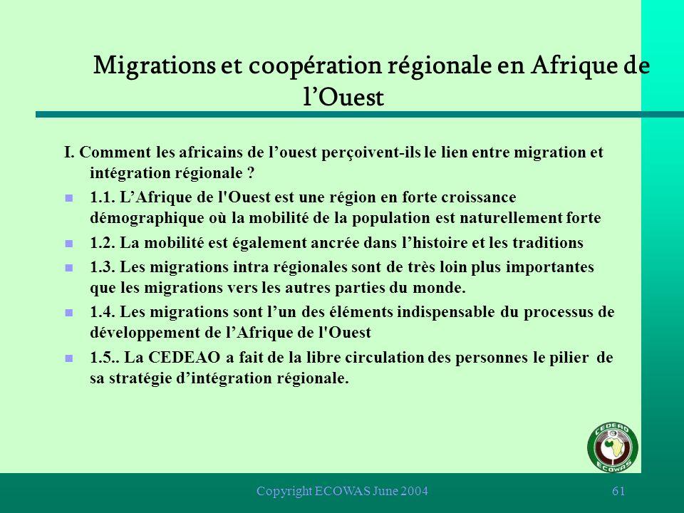 Copyright ECOWAS June 200460 Migrations et coopération régionale en Afrique de lOuest n I. Comment les africains de louest perçoivent-ils le lien entr