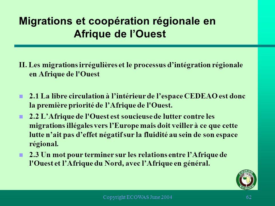 Copyright ECOWAS June 200461 Migrations et coopération régionale en Afrique de lOuest I. Comment les africains de louest perçoivent-ils le lien entre