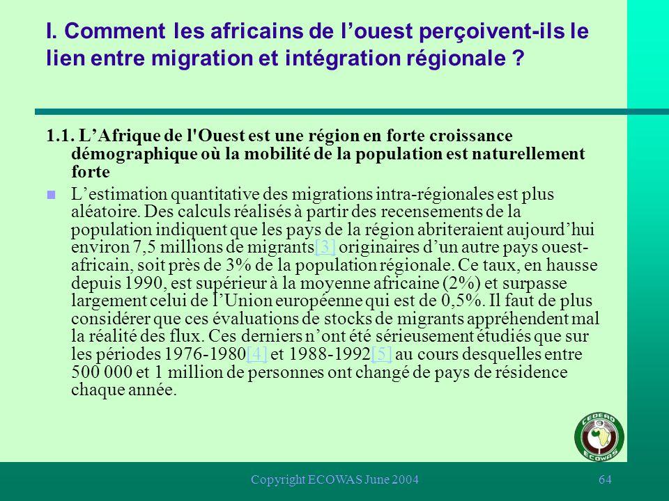 Copyright ECOWAS June 200463 I. Comment les africains de louest perçoivent-ils le lien entre migration et intégration régionale ? 1.1. LAfrique de l'O