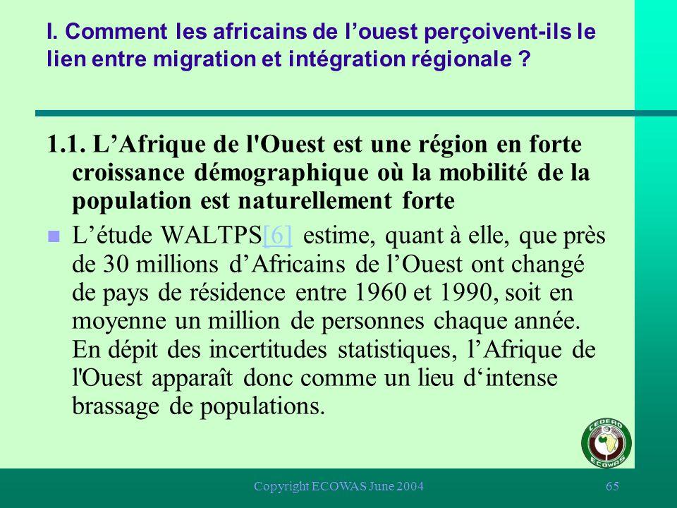 Copyright ECOWAS June 200464 I. Comment les africains de louest perçoivent-ils le lien entre migration et intégration régionale ? 1.1. LAfrique de l'O