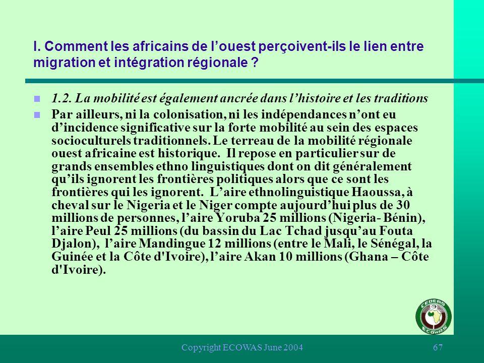 Copyright ECOWAS June 200466 I. Comment les africains de louest perçoivent-ils le lien entre migration et intégration régionale ? n 1.2. La mobilité e