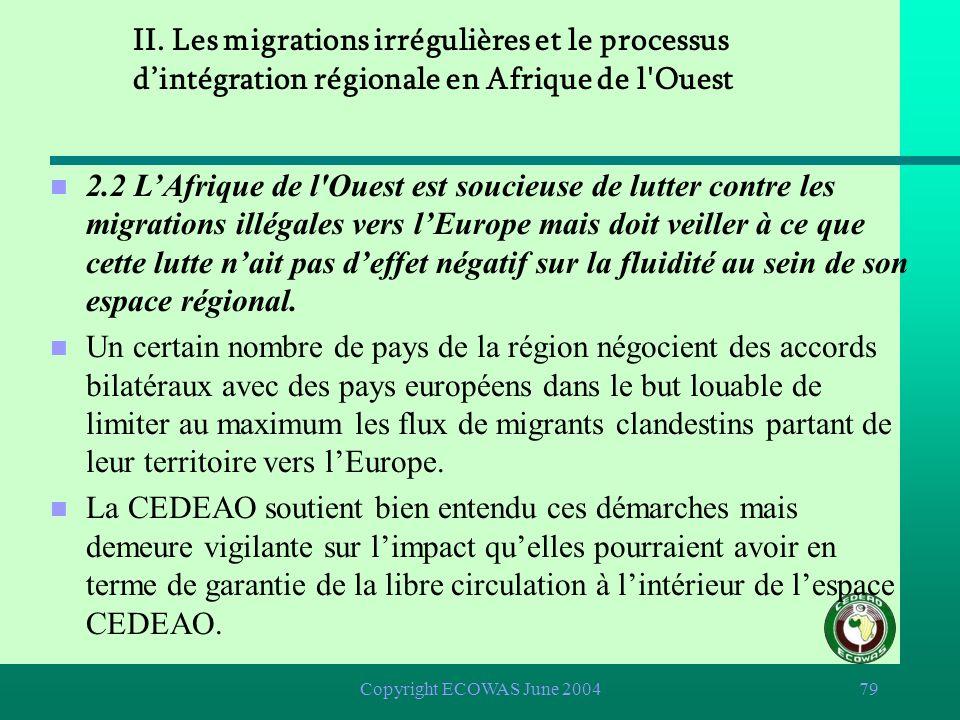Copyright ECOWAS June 200478 2.1 La libre circulation à lintérieur de lespace CEDEAO est donc la première priorité de lAfrique de l'Ouest. n Il existe