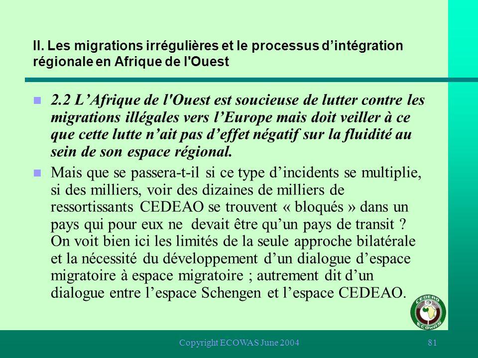 Copyright ECOWAS June 200480 II. Les migrations irrégulières et le processus dintégration régionale en Afrique de l'Ouest n 2.2 LAfrique de l'Ouest es