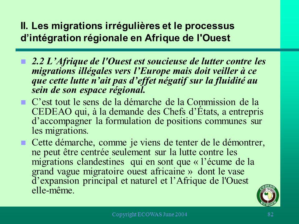 Copyright ECOWAS June 200481 II. Les migrations irrégulières et le processus dintégration régionale en Afrique de l'Ouest n 2.2 LAfrique de l'Ouest es