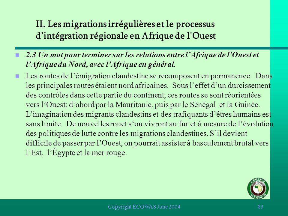 Copyright ECOWAS June 200482 II. Les migrations irrégulières et le processus dintégration régionale en Afrique de l'Ouest n 2.2 LAfrique de l'Ouest es