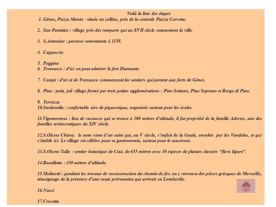 Voilà la liste des étapes 1. Gênes, Piazza Manin : située en colline, près de la centrale Piazza Corvetto. 2. San Pantaleo : village près des remparts