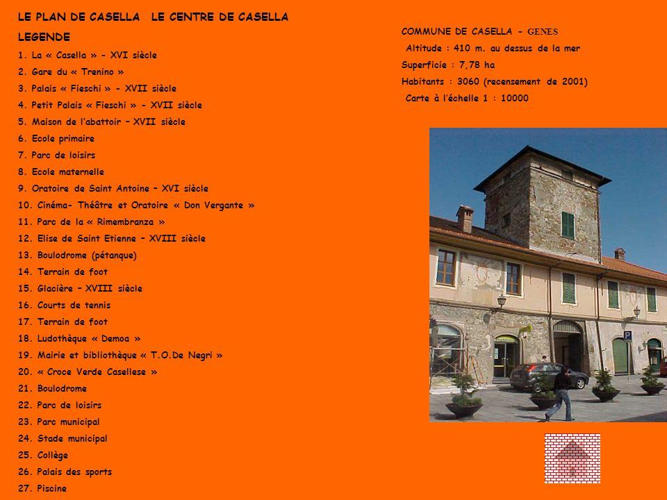 LE PLAN DE CASELLA LE CENTRE DE CASELLA LEGENDE 1. La « Casella » - XVI siècle 2. Gare du « Trenino » 3. Palais « Fieschi » - XVII siècle 4. Petit Pal