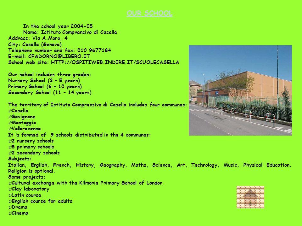 OUR SCHOOL In the school year 2004-05 Name: Istituto Comprensivo di Casella Address: Via A.Moro, 4 City: Casella (Genova) Telephone number and fax: 01