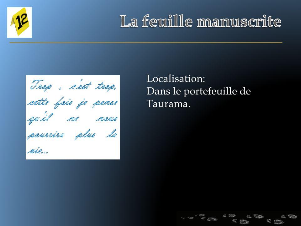 Localisation: Dans le portefeuille de Taurama.