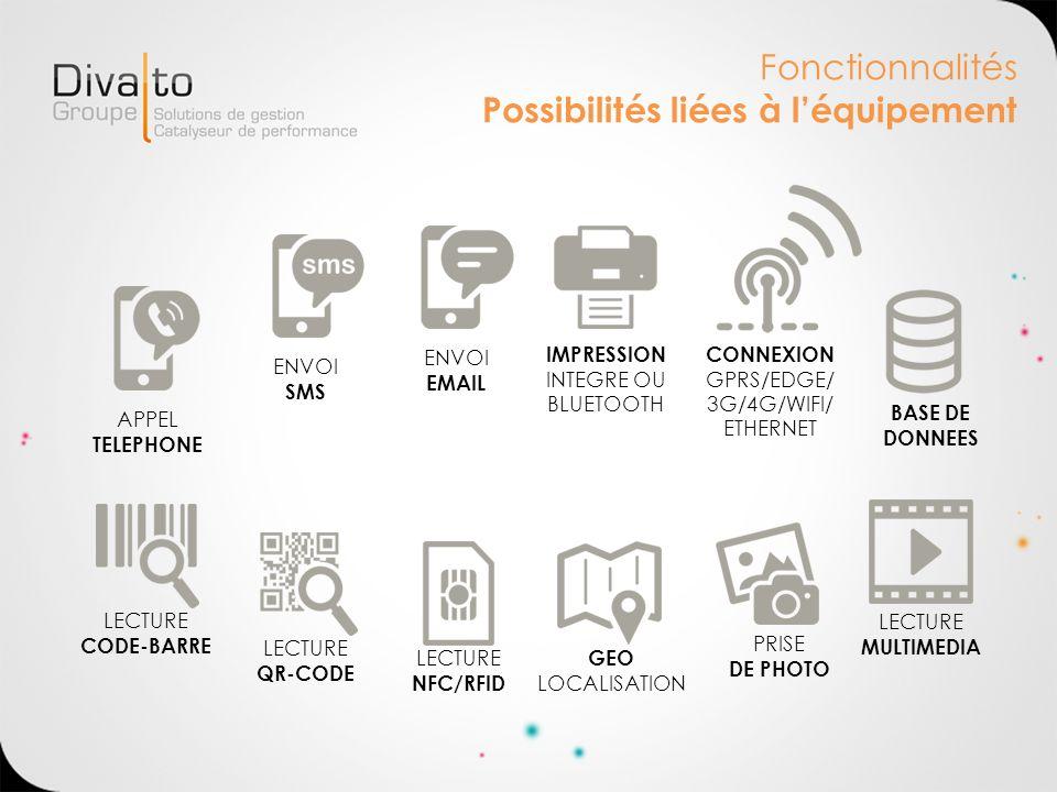 Fonctionnalités Possibilités liées à léquipement APPEL TELEPHONE ENVOI SMS LECTURE CODE-BARRE LECTURE NFC/RFID GEO LOCALISATION ENVOI EMAIL LECTURE QR