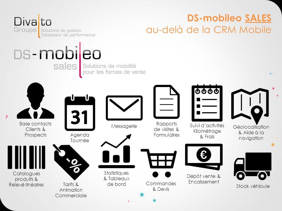 DS-mobileo SALES au-delà de la CRM Mobile Base contacts Clients & Prospects Agenda Tournée Messagerie Tarifs & Animation Commerciale Statistiques & Ta
