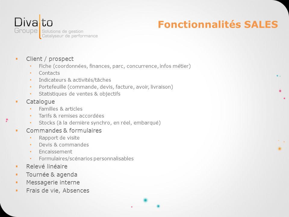Fonctionnalités SALES Client / prospect Fiche (coordonnées, finances, parc, concurrence, infos métier) Contacts Indicateurs & activités/tâches Portefe