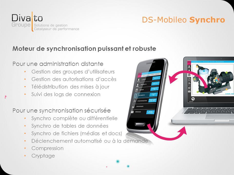 DS-Mobileo Synchro Moteur de synchronisation puissant et robuste Pour une administration distante Gestion des groupes dutilisateurs Gestion des autori
