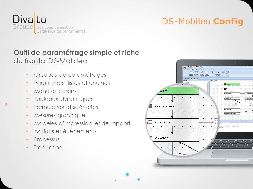 DS-Mobileo Config Outil de paramétrage simple et riche du frontal DS-Mobileo Groupes de paramétrages Paramètres, listes et chaînes Menu et écrans Tabl