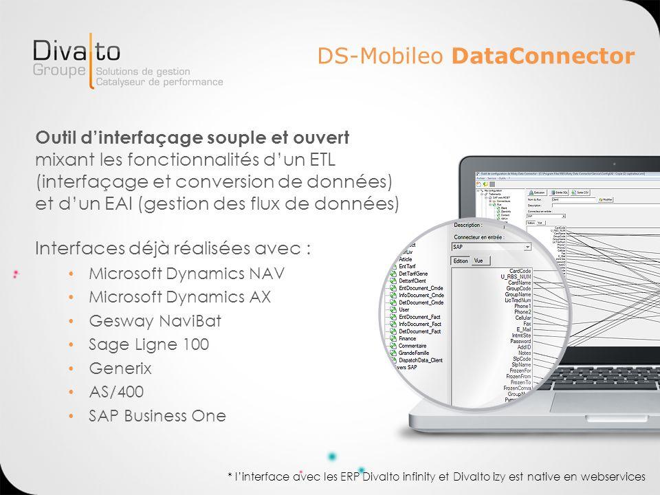DS-Mobileo DataConnector Outil dinterfaçage souple et ouvert mixant les fonctionnalités dun ETL (interfaçage et conversion de données) et dun EAI (ges