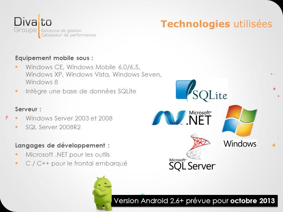 Technologies utilisées Equipement mobile sous : Windows CE, Windows Mobile 6.0/6.5, Windows XP, Windows Vista, Windows Seven, Windows 8 Intègre une ba