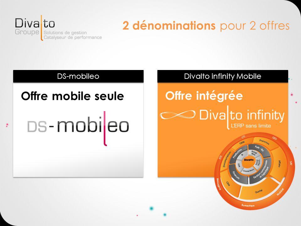2 dénominations pour 2 offres Offre mobile seuleOffre intégrée Divalto infinity Mobile DS-mobileo