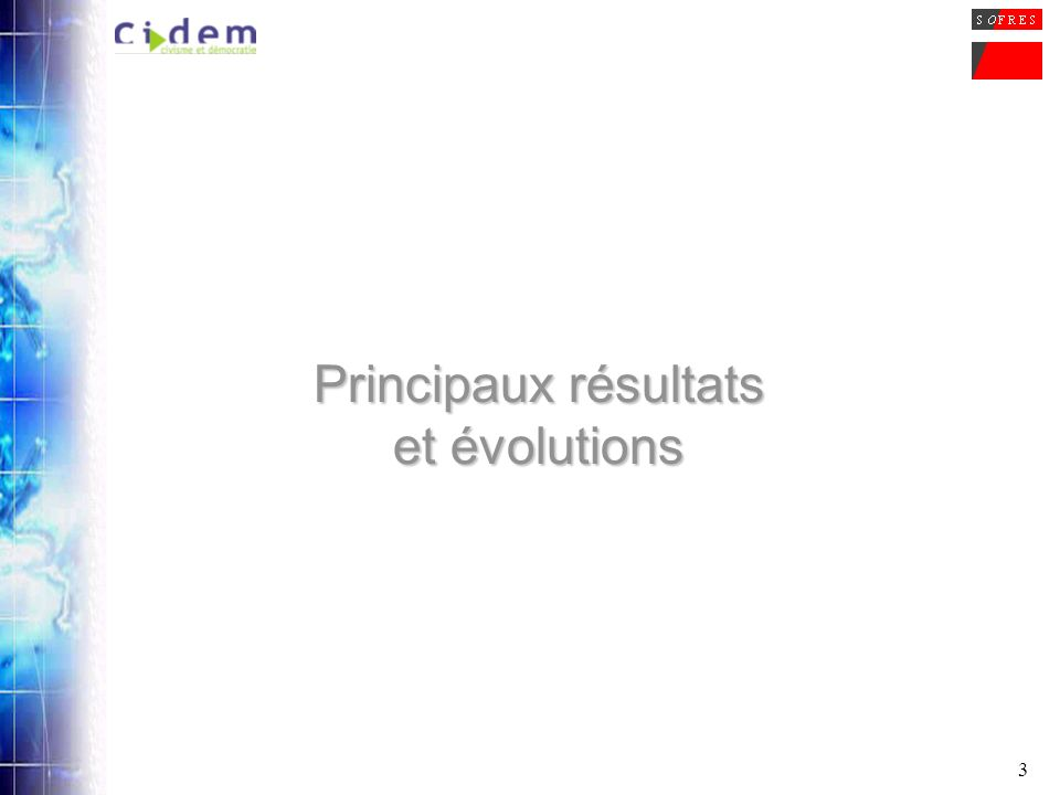 3 Principaux résultats et évolutions