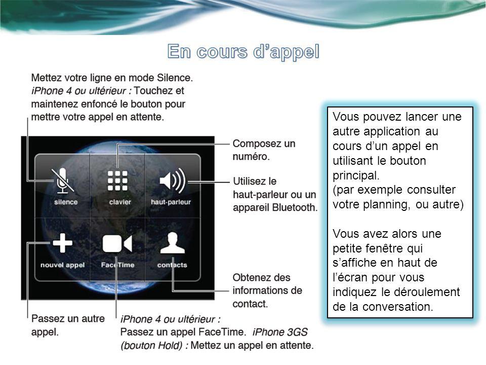 Vous pouvez lancer une autre application au cours dun appel en utilisant le bouton principal. (par exemple consulter votre planning, ou autre) Vous av