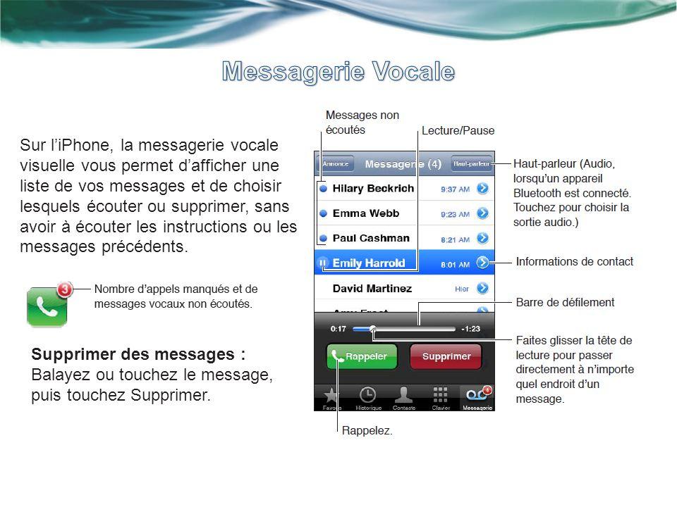 Sur liPhone, la messagerie vocale visuelle vous permet dafficher une liste de vos messages et de choisir lesquels écouter ou supprimer, sans avoir à écouter les instructions ou les messages précédents.