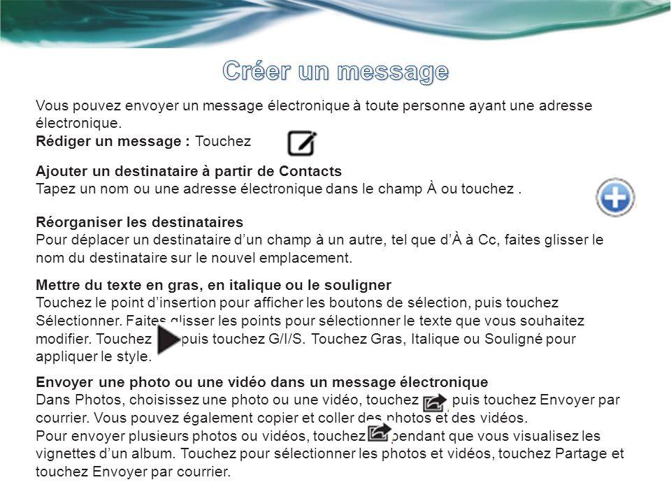 Vous pouvez envoyer un message électronique à toute personne ayant une adresse électronique. Rédiger un message : Touchez Ajouter un destinataire à pa