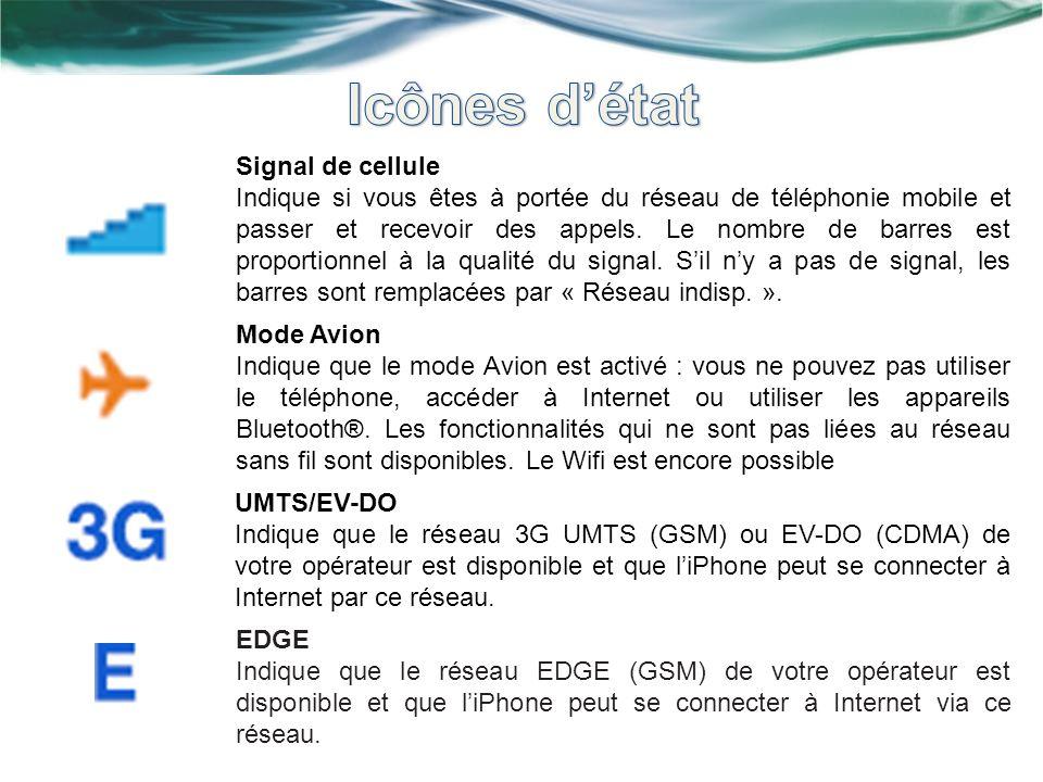 Signal de cellule Indique si vous êtes à portée du réseau de téléphonie mobile et passer et recevoir des appels. Le nombre de barres est proportionnel