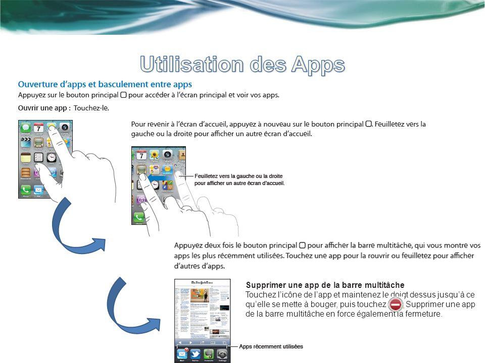 Supprimer une app de la barre multitâche Touchez licône de lapp et maintenez le doigt dessus jusquà ce quelle se mette à bouger, puis touchez.