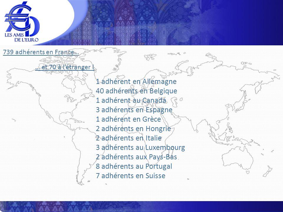 739 adhérents en France… … et 70 à létranger ! 1 adhérent en Allemagne 40 adhérents en Belgique 1 adhérent au Canada 3 adhérents en Espagne 1 adhérent