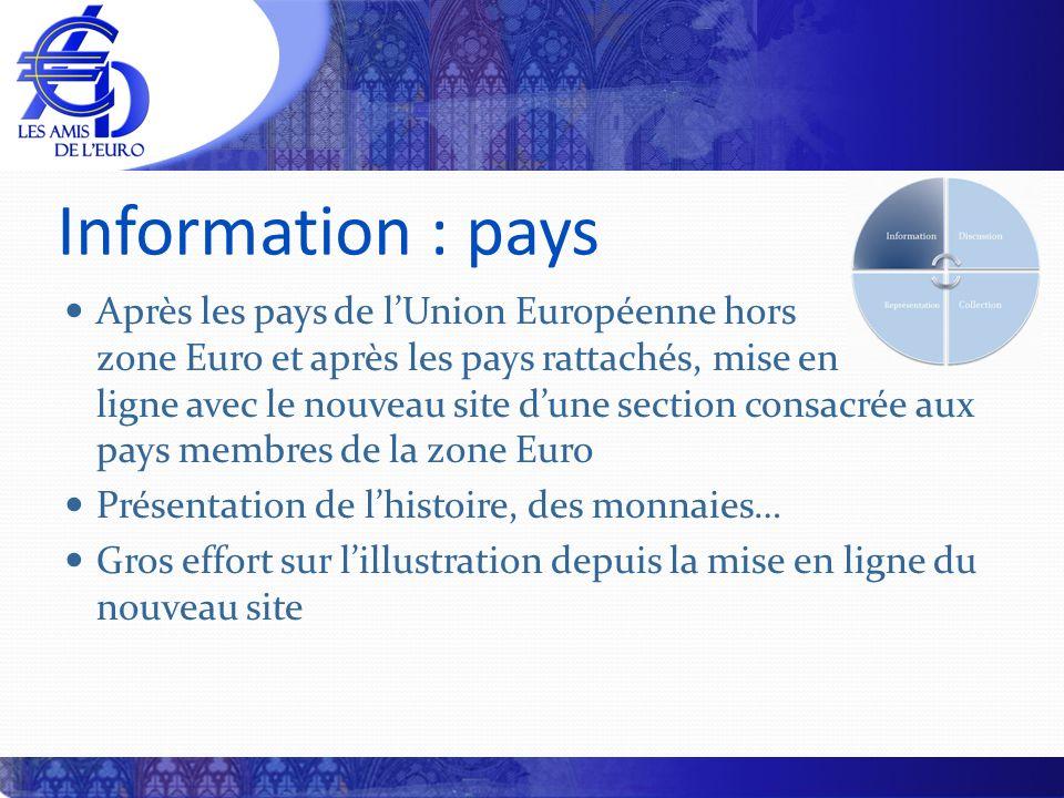 Information : pays Après les pays de lUnion Européenne hors zone Euro et après les pays rattachés, mise en ligne avec le nouveau site dune section con
