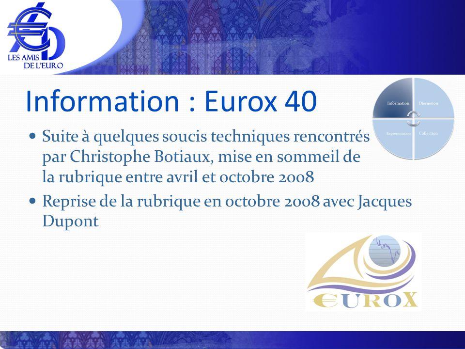 Information : Eurox 40 Suite à quelques soucis techniques rencontrés par Christophe Botiaux, mise en sommeil de la rubrique entre avril et octobre 200