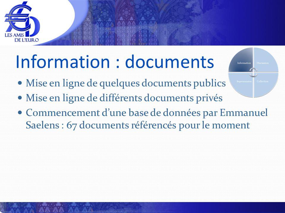 Information : documents Mise en ligne de quelques documents publics Mise en ligne de différents documents privés Commencement dune base de données par