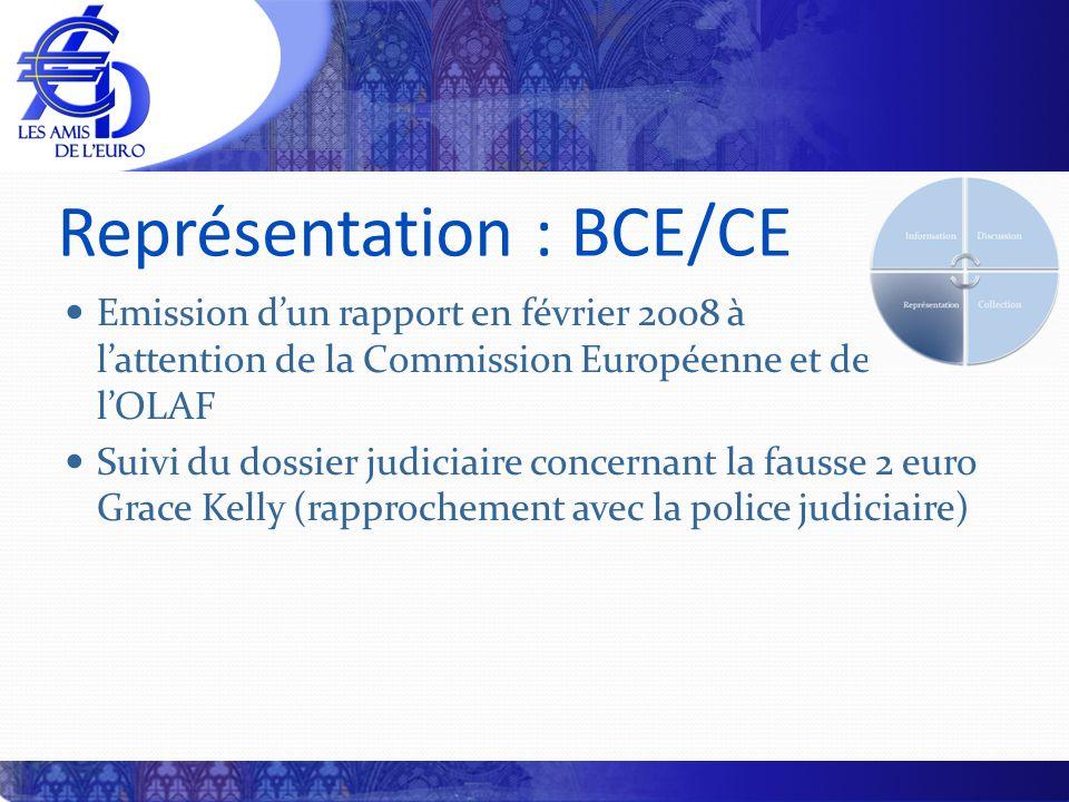 Représentation : BCE/CE Emission dun rapport en février 2008 à lattention de la Commission Européenne et de lOLAF Suivi du dossier judiciaire concerna