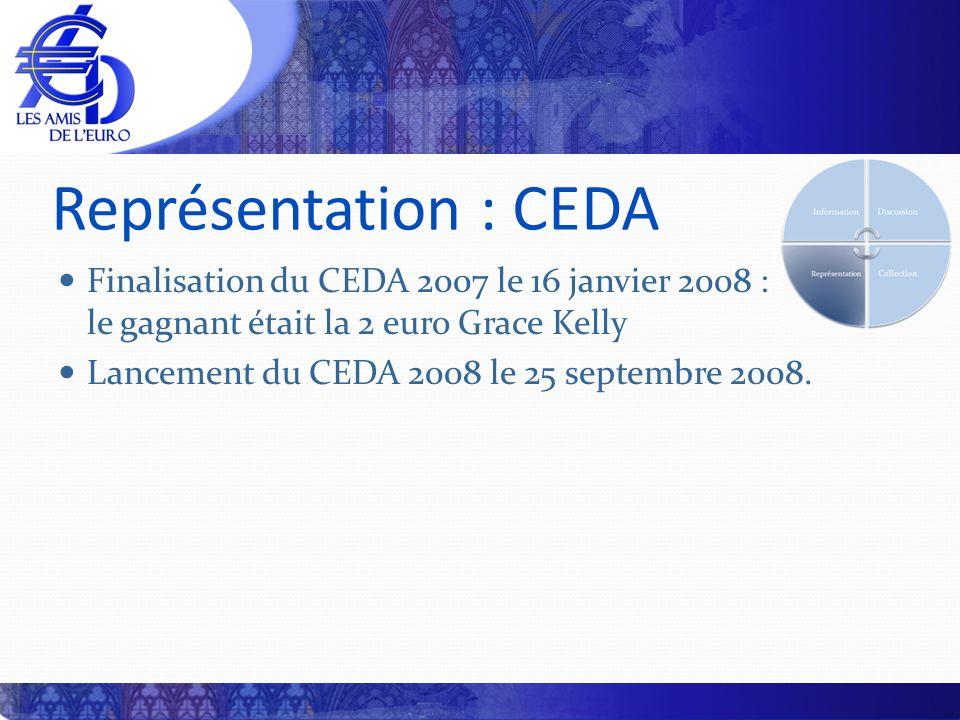 Représentation : CEDA Finalisation du CEDA 2007 le 16 janvier 2008 : le gagnant était la 2 euro Grace Kelly Lancement du CEDA 2008 le 25 septembre 200