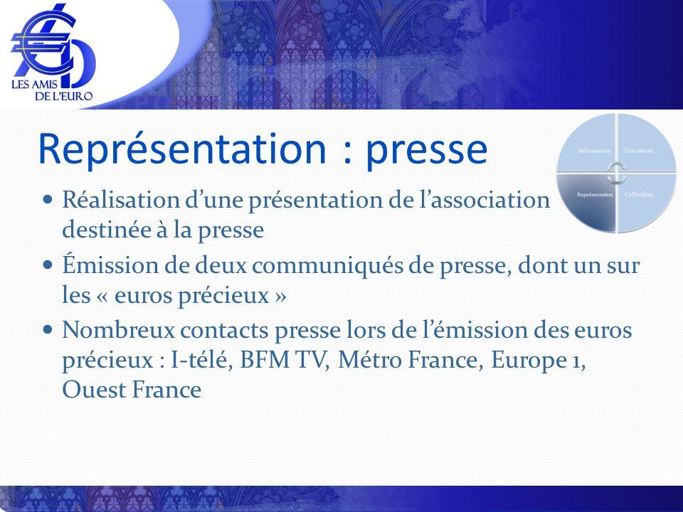 Représentation : presse Réalisation dune présentation de lassociation destinée à la presse Émission de deux communiqués de presse, dont un sur les « e