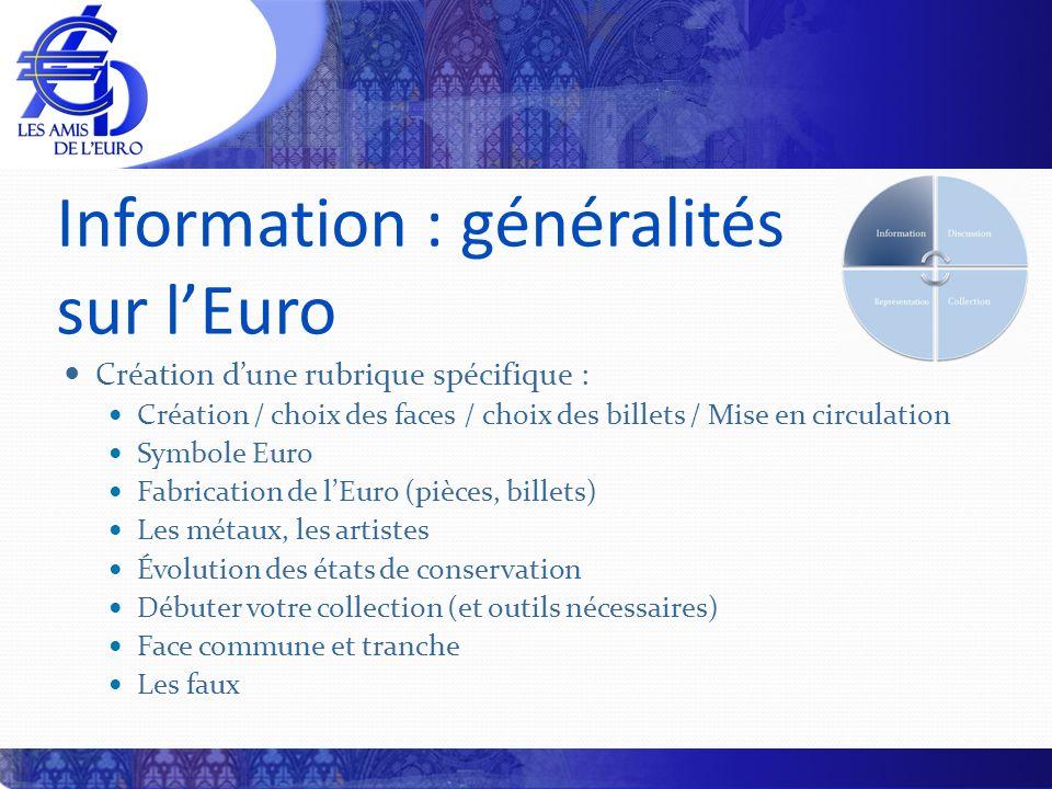 Information : généralités sur lEuro Création dune rubrique spécifique : Création / choix des faces / choix des billets / Mise en circulation Symbole E