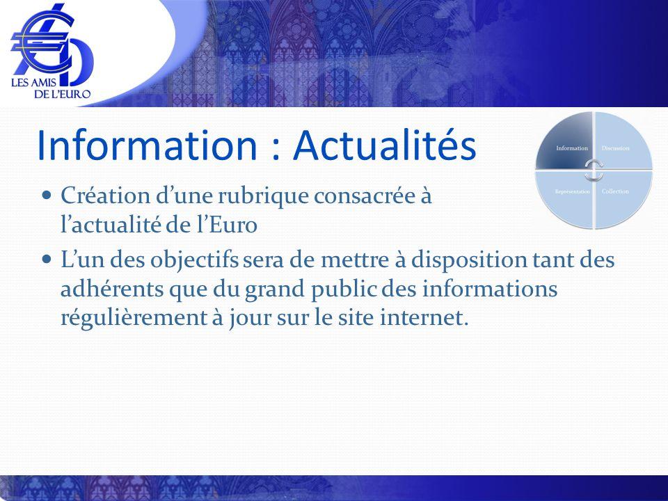 Information : Actualités Création dune rubrique consacrée à lactualité de lEuro Lun des objectifs sera de mettre à disposition tant des adhérents que