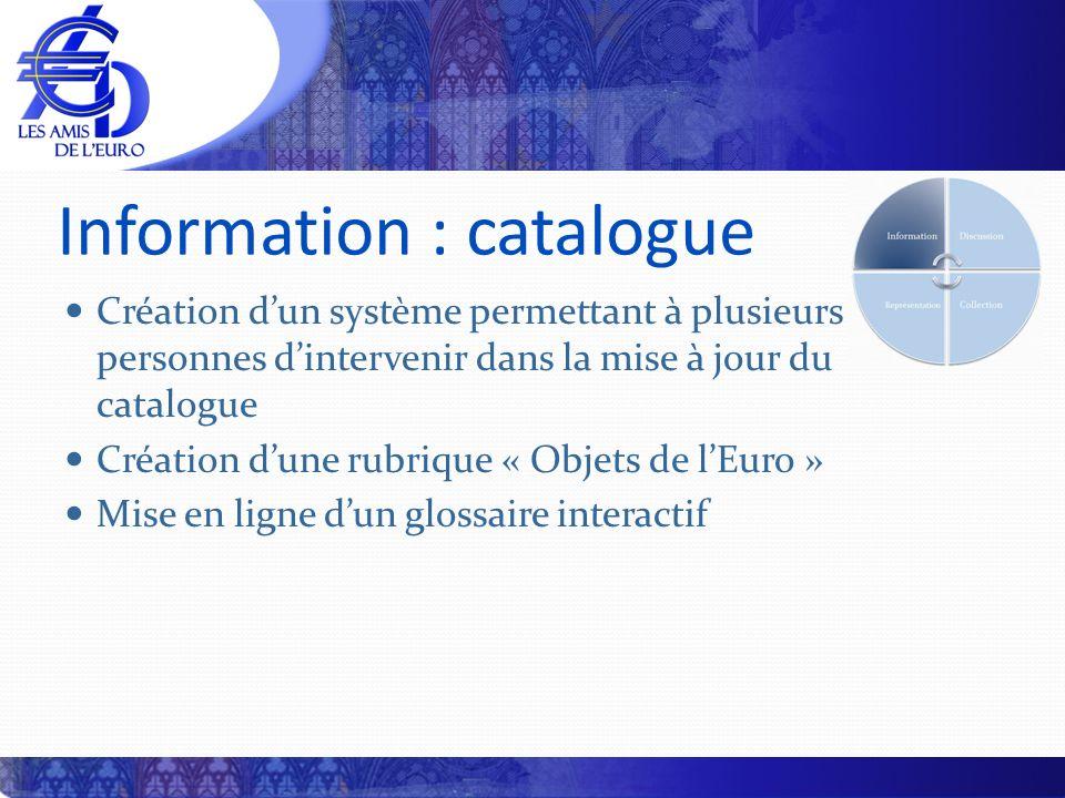 Information : catalogue Création dun système permettant à plusieurs personnes dintervenir dans la mise à jour du catalogue Création dune rubrique « Ob