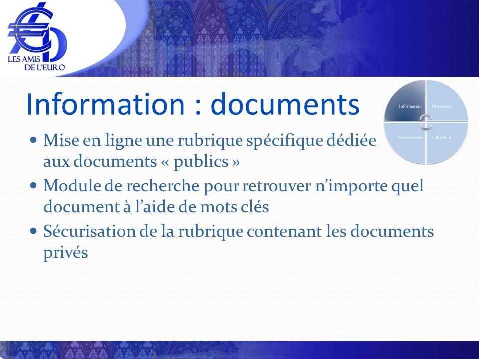 Information : documents Mise en ligne une rubrique spécifique dédiée aux documents « publics » Module de recherche pour retrouver nimporte quel docume