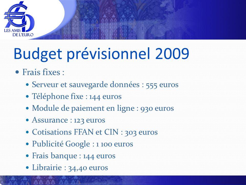 Budget prévisionnel 2009 Frais fixes : Serveur et sauvegarde données : 555 euros Téléphone fixe : 144 euros Module de paiement en ligne : 930 euros As
