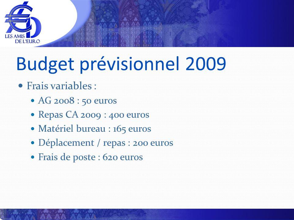 Budget prévisionnel 2009 Frais variables : AG 2008 : 50 euros Repas CA 2009 : 400 euros Matériel bureau : 165 euros Déplacement / repas : 200 euros Fr