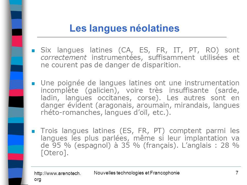 http://www.arenotech.org Nouvelles technologies et Francophonie18 D.