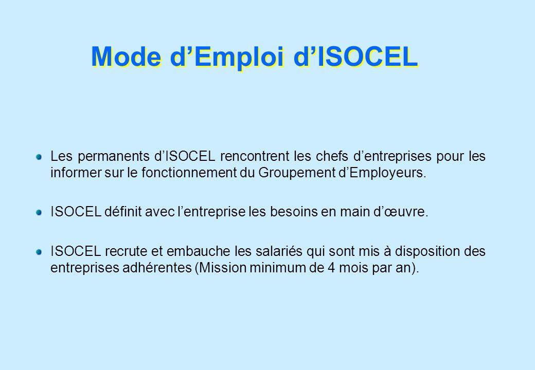 Mode dEmploi dISOCEL Les permanents dISOCEL rencontrent les chefs dentreprises pour les informer sur le fonctionnement du Groupement dEmployeurs. ISOC